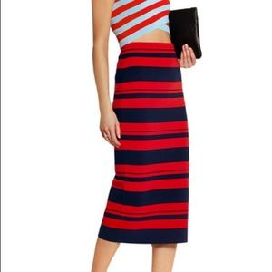 DKNY Striped stretch cotton-blend midi skirt